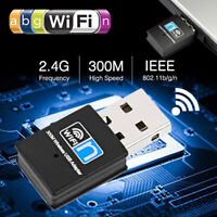 300Mbps Wireless USB Ethernet PC WiFi AC Adapter Lan 802.11 For Windows XP 8 10
