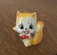 Vintage ARNART Kitty Cat Figurine Red Bow Tie