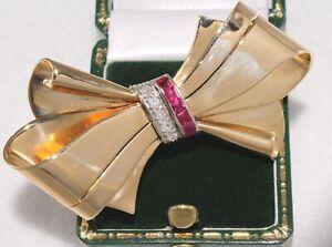 Retro Diamond Ruby Bow Pin Brooch 14K Yellow Gold Mid-Century