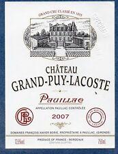 PAUILLAC VIEILLE ETIQUETTE CHATEAU GRAND PUY LACOSTE 2007 RARE    §04/07/18§