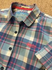 GORGEOUS WOMENS SUPERDRY FITTED BLOUSE SHIRT BLUE / PINK L LARGE