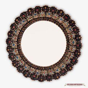 "Peruvian Wall Accent Mirror ""Black Bouquet"", Decorative Cuzcaja Round Mirrors"
