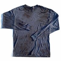 Vtg 90s Thrashed Distressed Faded Thin Blank Long Sleeve T-Shirt L