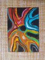ACEO original pastel painting outsider folk art brut #010265 abstract surreal