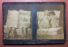 "Tsarist Russia postcard 1909s Nude Boys read Old German Newspaper ""©rtrablatt"""