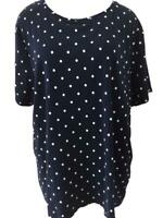 Croft Barrow classic tee knit top Size 2X short sleeve blue white polka dots