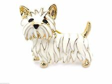 New Westie White Dog Goldtone crystal Brooch West Highland Terrier Pin