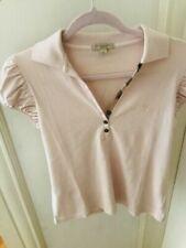 Burberry Brit Women's Pink Short Puff Sleeve Polo Check Shirt M Netaporter