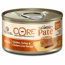 Wellness CORE Natural Grain Free Wet Canned Cat Food, Chicken  Turkey, 3-Ounce