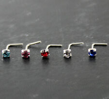 5 pcs 22G 6 mm 925 Sterling Silver 1.5 mm CZ in 4 Claw Setting L-Shape Nose Stud