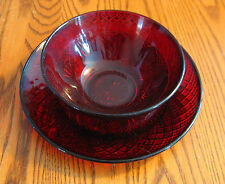 Real RED GLASS Bowl and Lunch/Dessert plate w/cut glass design  Rich translucent