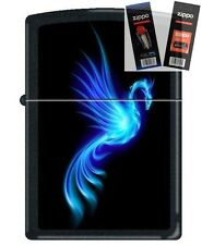 Zippo 0249 phoenix burning blue Lighter with *FLINT & WICK GIFT SET*