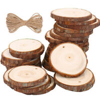 10/20/30pcs Natural Round Wood Slices Circles with Hole Log Discs for DIY Crafts
