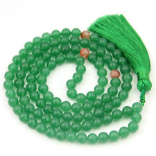8mm 108 Green Aventurine Gem Beads Tibet Buddhist Prayer Mala Necklace