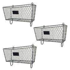 3 x Wire Letter Mail Mount Metal Rack Basket Vintage Triple Organizer Home Decor
