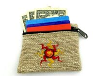 Hemp Coin Purse Yellow Sun Natural Bag Pouch Credit Card ID Holder Vegan Wallet