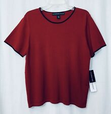 Josephine Chaus Women Top Sz XL Red Black Silk Cotton Short Sleeve Shirt Stretch