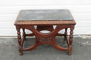 Early 1900s Marble Top Heavy Hand Carved Coffee Side Table 1785