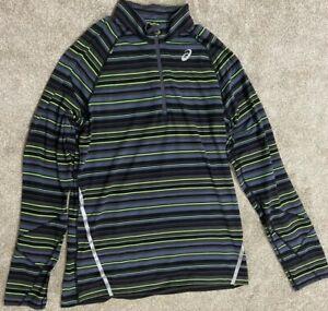 Men's ASICS Black striped 1/4 Zip Pull Over activewear Jacket Size Large