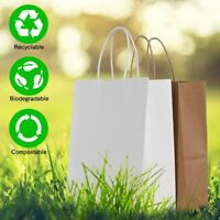 BROWN WHITE KRAFT SMALL MEDIUM LARGE PAPER CARRIER BAGS WITH HANDLES PARTY GIFT