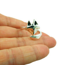 Large 925 Sterling Silver Fox Animal Wrap Ring Size R Adjustable