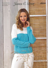 Womens Double Knitting Pattern Cable Knit Sweater Jumper James Brett DK JB594