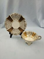 VTG ALKA Bavaria Footed Cup & Saucer Beautiful Gold Filigree Designs on Cream
