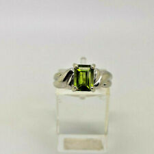 9ct White Gold Hallmarked Peridot Ladies Ring.  Goldmine Jewellers.