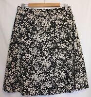 MAIOCCHI ~ Black White Cherry Blossom Print A-Line Textured Cotton Skirt 10