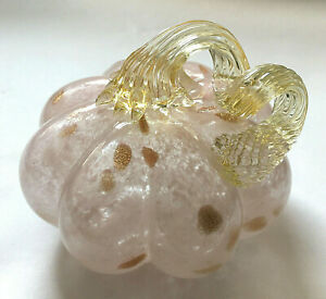 "NEW 5"" wide Art Glass Pumpkin PASTEL PINK & Clear Swirl with Gold Metallic Spots"