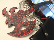 "Fantasy Master Big Red Dragon Axe Tomahawk Hatchet Knife Full Tang 16 3/4"" OA"