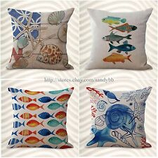 set of 4 decorative pillow covers cushion covers marine ocean conch starfish