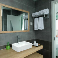 "20"" Bathroom Vessel Sink Porcelain Ceramic Rectangle Vanity Basin Overflow Drain"