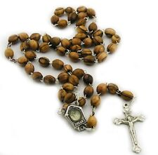 Olive Wood Prayer Rosary Beads Pendant Necklace Holy Land Water Silver Crucifix