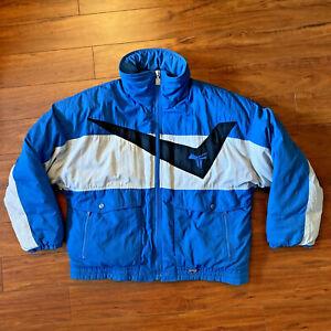 Vintage Tyrolia by Head Men's XL Ski Coat Puff Down Jacket Blue Gray Black Retro