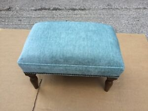 Footstool upholstered in Mobus Lagoon fabric