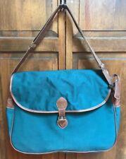 "Polo Ralph Lauren Green Briefcase Messenger Travel Bag Tote Brown Strap 17"""