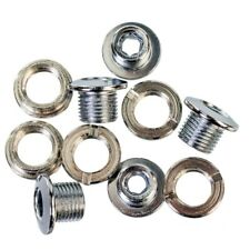 SINGLE RING STEEL CHAINRING BOLTS SET OF 5 SILVER BMX, FIXIE, TRACK BIKE