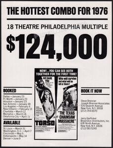 THE TEXAS CHAINSAW MASSACRE_/_TORSO__Orig. 1976 Trade AD / double feature promo
