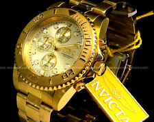 NEW Invicta Pro Diver 18K Gold Plated CHAMPAGNE Dial Chrono S.S Bracelet Watch