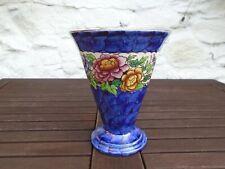 "Vintage Maling Pottery Peony Rose Blue Lustre Trumpet Vase, 6½"" / 16.7cm"