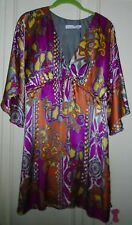 Designer ALICE & TRIXIE Floral Silk Dress ¾ Kimono Sleeve  SZ S