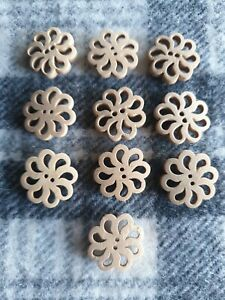 19mm large natural flower wooden sewing coat jacket craft knitting buttons 10pcs