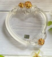 """MIKASA """"Rosemont"""" Double Heart Crystal Picture Frame & Gold Floral Roses"""
