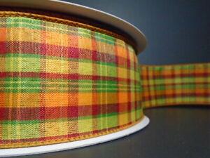 "Autumn/Fall Plaid 2.5"" Wire Edged Ribbon (2 LENGTHS)Green*Burgundy*Orange*Gold*"