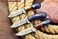 Lot of 3 Custom Handmade Damascus Skinning Blade Miniature Full Tang Knife