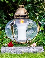 Grablicht 32cm Grablaterne Lampe Grableuchte Glas Grabschmuck Kerze Gold 10