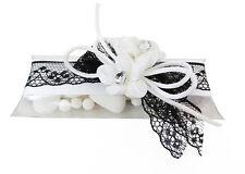 Bomboniera Astuccio PVC Nastro Pizzo E Fiori Strass matrimonio black & white