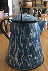Vintage Antique Blue White Swirl Enamel Coffee Tea Pot Cowboy Kettle 11 Large