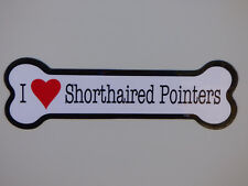 """I Heart (Love) Shorthaired Pointers Dog Bone Car Magnet 2""""x7"""" New Waterproof"""